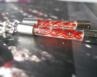 Super Mini Handblown Glass Resident Evil G Virus Capsule Earrings