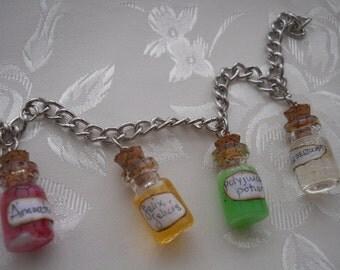 Miniature Charm Bracelet Polyjuice, Felix Felicis, Amortentia and Veritaserum Potion Charm w/handmade label