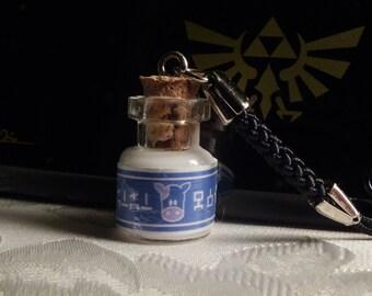 Miniature Legend of Zelda Lon Lon Milk Bottle Cell Charm Keychain
