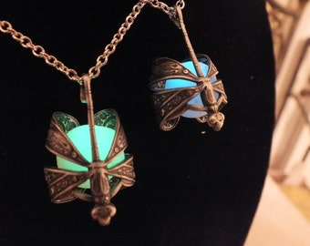 Glow In The Dark Brass Dragonfly Wrapped Necklace