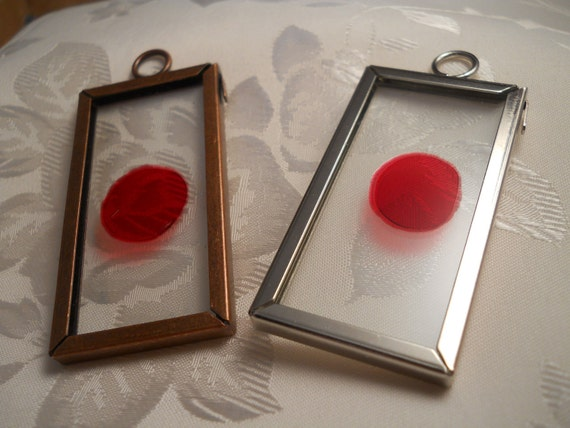 Dexter Blood Slide Glass Pendant, Choice of Brass or Silver Frame