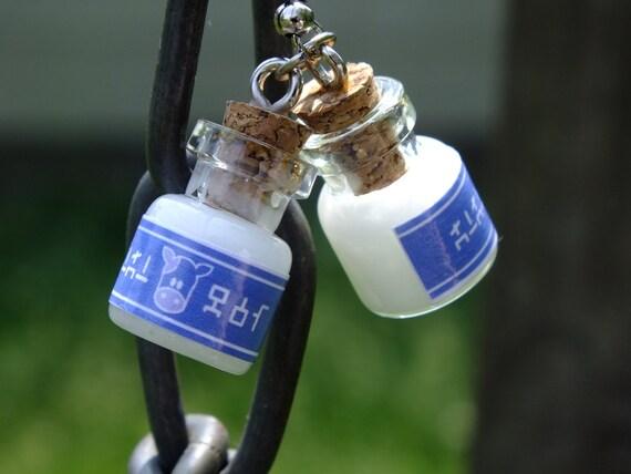Miniature Legend of Zelda Lon Lon Milk Bottle Earrings