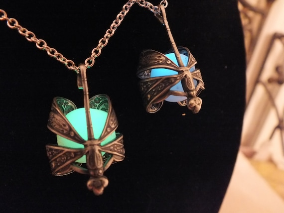Glow In The Dark Brass or Silver Dragonfly Wrapped Necklace