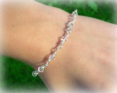 Custom Listing for vanrad22- Sterling silver wire wrapped Swarovski crystal bridal bracelet