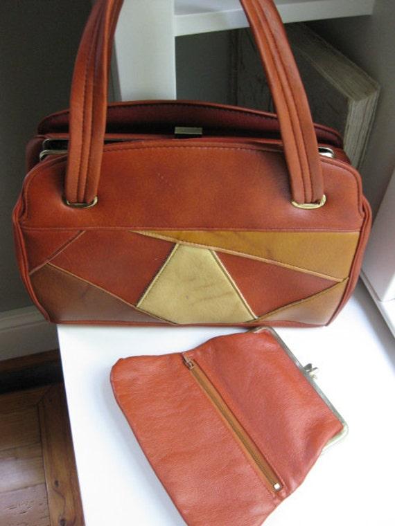 Vintage patchwork brown vinyl handbag/ 1970's