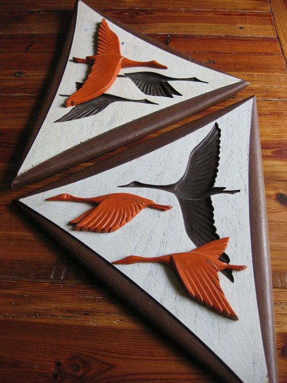 Vintage Burwood migrating geese/ carved wood/ wall plaque/ fall decor