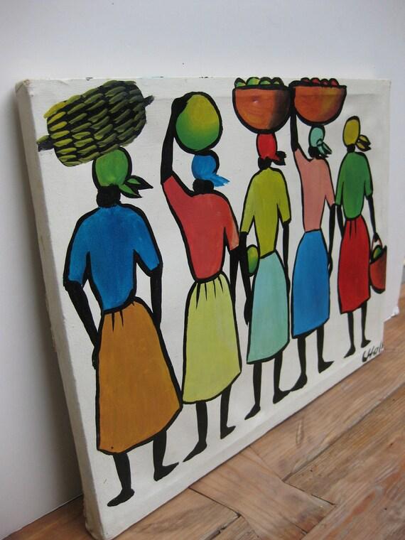Vintage Caribbean folk art painting/ Haiti/ bright colors
