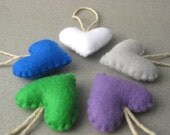 Recycled Felt Heart Ornaments set of 5 white, gray, neon blue, violet, green