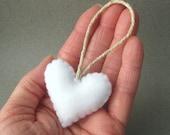 White Felt Heart Christmas Ornament Recycled Felt Eco Friendly