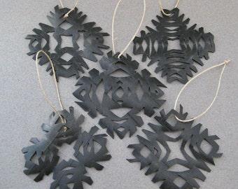 Snowflake Ornaments Eco Friendly bicycle inner tubes Christmas Set of 5 OOAK olyteam