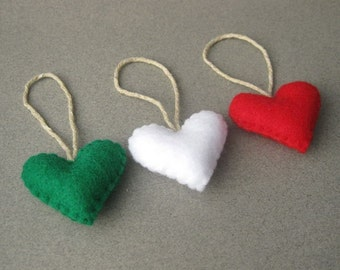 Felt Christmas Ornaments Hearts Eco-Friendly Christmas colors Red, Pirate Green, White