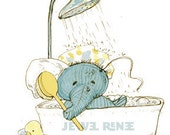 Hellephant's Scrub-a-Dub Illustration 8x10
