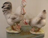 vintage Barnyard Buddies . Cock-a-doodle-doo Rooster and Hen . great cake toppers