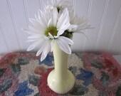 vintage bud vase, creamy pastel yellow, cottage perfect