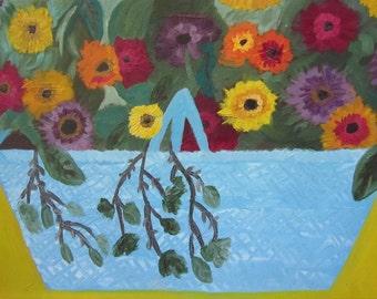 Flower Basket Floral Painting on Canvas, HUGE Bright Cheerful Vintage Original Art, Cottage Home Decor. STUNNING Outsider Art