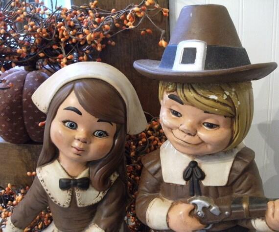 vintage Pilgrim Couple Boy & Girl XL, Thanksgiving Decor, Table Centerpiece bountiful harvest , creepy or cute, you be the judge