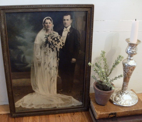vintage Wedding Couple Art Portrait 1920's era, Forever Young, large Framed under Glass, Eternal Love