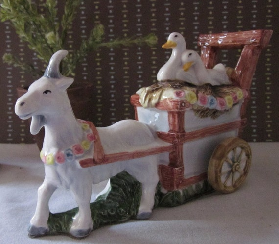 vintage MUSIC BOX, Goat Cart with Ducks, Chariots of Fire, Schmid, made in JAPAN