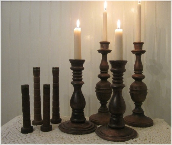 vintage Candle Holders Instant Collection, Lot of 8 dark stained turned wood candleholders and bobbins