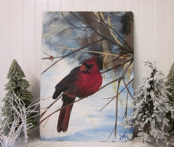 Red Cardinal in Winter Snow on vintage distressed roofing slate. Stunning handpainted original rustic art wall decor