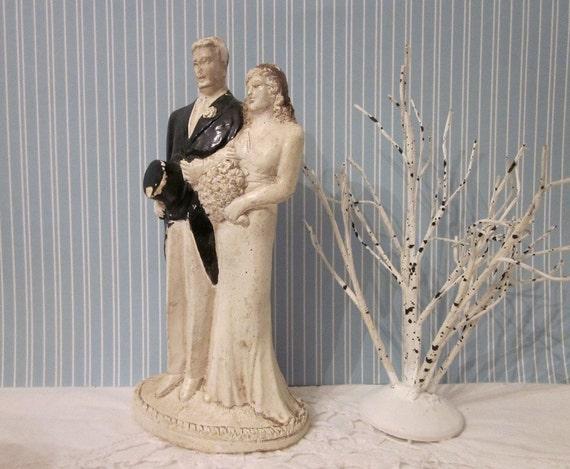 Vintage wedding cake topper 1920 s bride amp groom art deco romantic