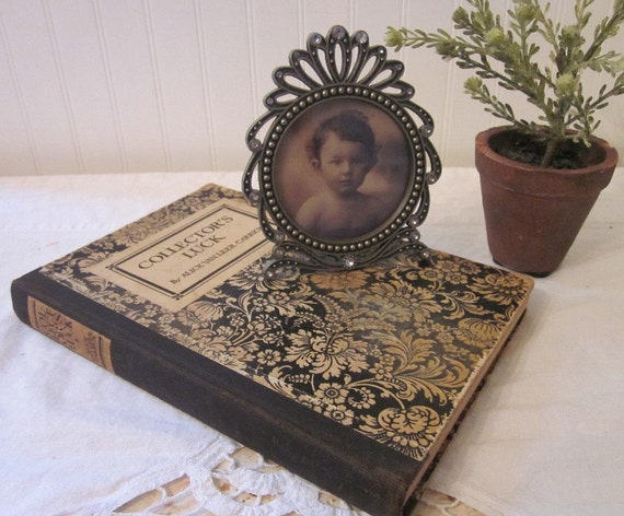 vintage COLLECTOR'S LUCK by Alice Van Leer Carrick, 1920 book, tan & black toile, rustic, chippy distressed cover, objet d'art