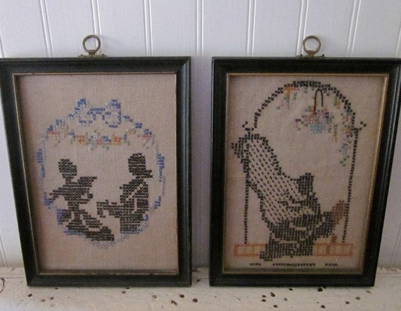 2 vintage Cross Stitch Silhouettes, rustic distressed chippy frames, Black and Cream needlework x-stitch, eclectic country cottage decor