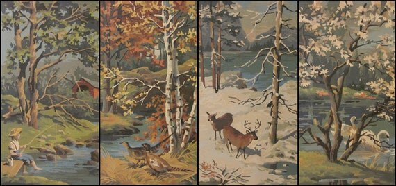 vintage Paint by Numbers, 4 Seasons PBN set, four Spring Summer Autumn Winter, awesome woodland cabin lodge mid-century home decor