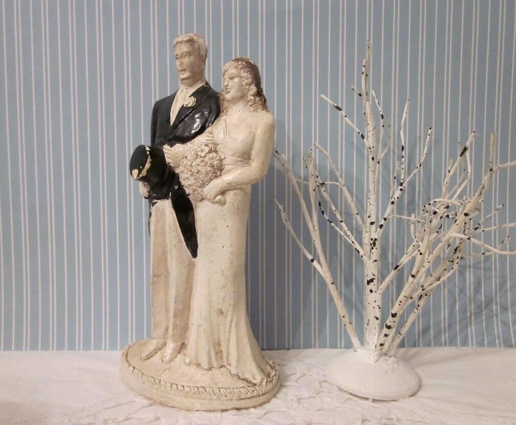 vintage wedding cake topper 1920 39 s bride groom art. Black Bedroom Furniture Sets. Home Design Ideas