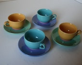 Set of 4 Espresso Cups and Saucers - Fiestaware Colors