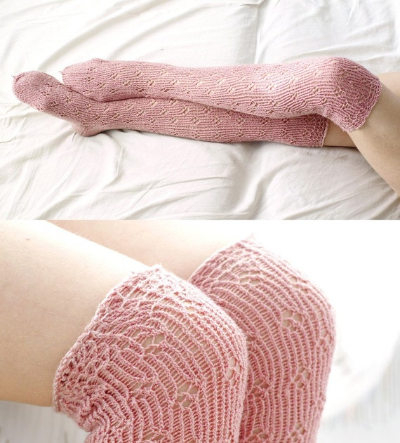 Delicate Pink Lace - long socks