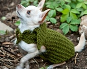 The Mason - Army Green Dog Sweater Coat with Leather Buttons XXS