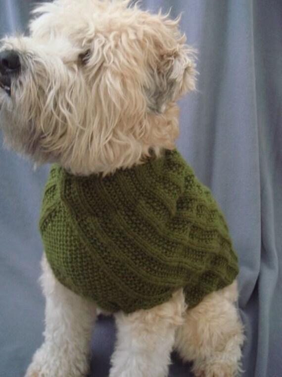 Army Green Ribbed Dog Sweater XXS