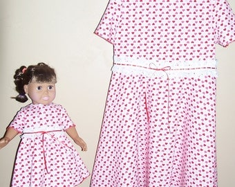 Hearts and sparkles girls size 5 dress with matching doll dress