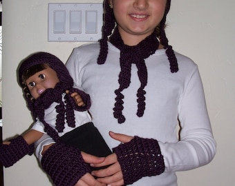 Purple earflap hat, scarf, wristlets and matching for doll