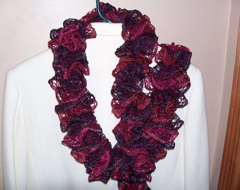 Ladies fashion ruffle scarf in purples and burgandy shades