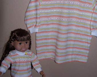 Rib neck knit tshirt top girl size 6 and matching 18 inch doll top with leggings for doll