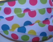 7/8 Bright Jumbo Dots on White GROSGRAIN RIBBON 5 YARDS Green, Dark Pink, Yellow and Turquoise Blue  Making Hair Bow Craft