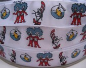"7/8"" 1"" Thing One Thing Two Dr. SEUSS Inspired White Printed Grosgrain Ribbon Cat In The Hat Supplies - 5 YARDS"