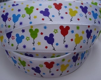 7/8 Printed Grosgrain Ribbon by the yard Making Hair Bows Accessories Supplies Scrapbook Pacifier Mickey Clips MOUSE HEAD Birthday BALLOONS