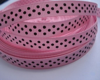 3/8 PINK Grosgrain RIBBON Brown Dots Making Hair Bow Scrapbooking Scrapbook Craft Supplies