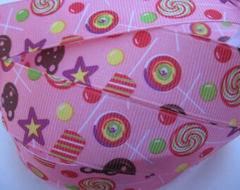 7/8 Summer CANDY, POPSICLE, LOLLIPOPS on Pink Grosgrain Ribbon Making Hair Bow Scrapbooking Scrapbook Craft Supplies