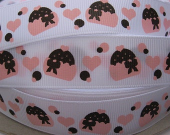 7/8 CHOCOLATE CUPCAKES Grosgrain RIBBON 5 Yards Making Hair Bow Supplies Printed Ribbon by the yard