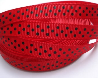 3/8 RED GROSGRAIN RIBBON Black Dots Making Lady Bug Hair Bow Supplies Lady Bugs Printed Ribbon by the yard