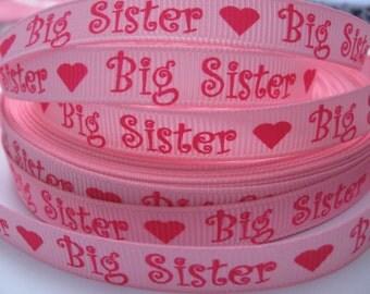 3/8 PINK BIG SISTER Grosgrain Ribbon Making Hair Bow Scrapbooking Scrapbook Supplies