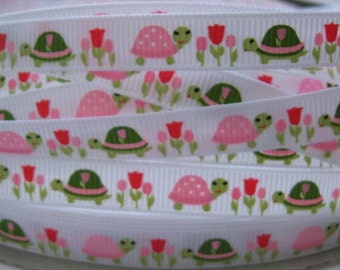3/8 TURTLE TULIP Garden MTMG Made To Match Gymboree Line Grosgrain Printed Ribbon 5 Yards Craft scrapbooking Hair Bows supplies by the yard