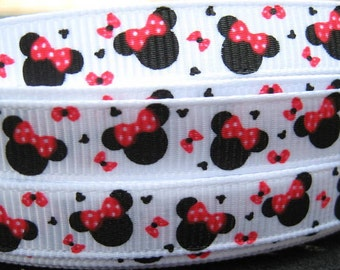 3/8 Mouse Head Red Bows Grosgrain Ribbon mtm MINNIE m2m MICKEY Making Hair Bow Supplies Printed Ribbon