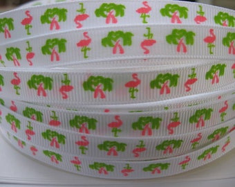 3/8 PINK FLAMINGOS Green Palm Trees on White Grosgrain ribbon Printed By the Yard Hair Bow Making sock trim we sell wholesale too