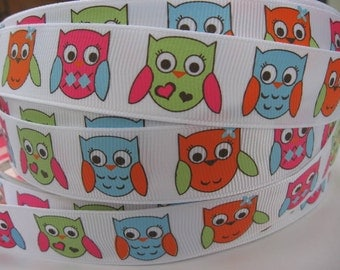 7/8 Homecoming OWL OWLS Grosgrain RIBBON  5 Yards Mtmg Gymboree Hair Bow Supplies Printed Ribbon by the yard we sell wholesale