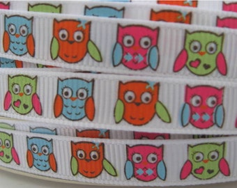 3/8 Homecoming OWL OWLS Grosgrain RIBBON Mtmg Gymboree Hair Bow Supplies Printed Ribbon by the yard we sell wholesale